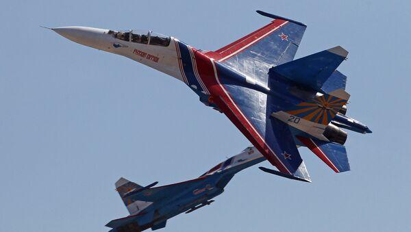 Bitevní letoun Su-27 je znám jako Žuravlik (Jeřábek) - Sputnik Česká republika