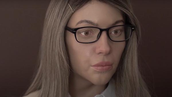 Robot vypadající jako blonďatá dívka vydává potvrzení v centru státních služeb  - Sputnik Česká republika