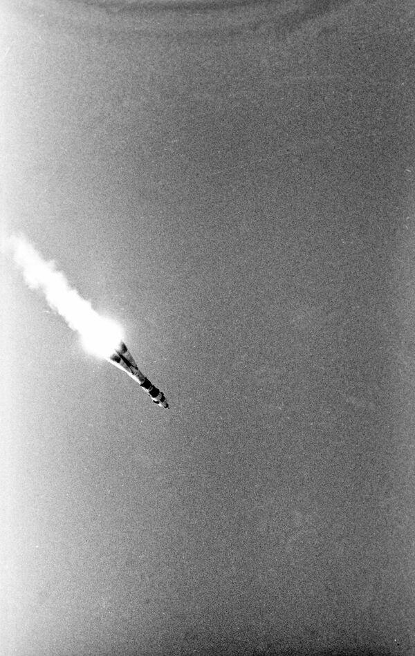 Start sovětské kosmické lodi Sojuz-19 s kosmonauty Alexejem Leonovem a Valerijem Kubasovem na palubě. - Sputnik Česká republika