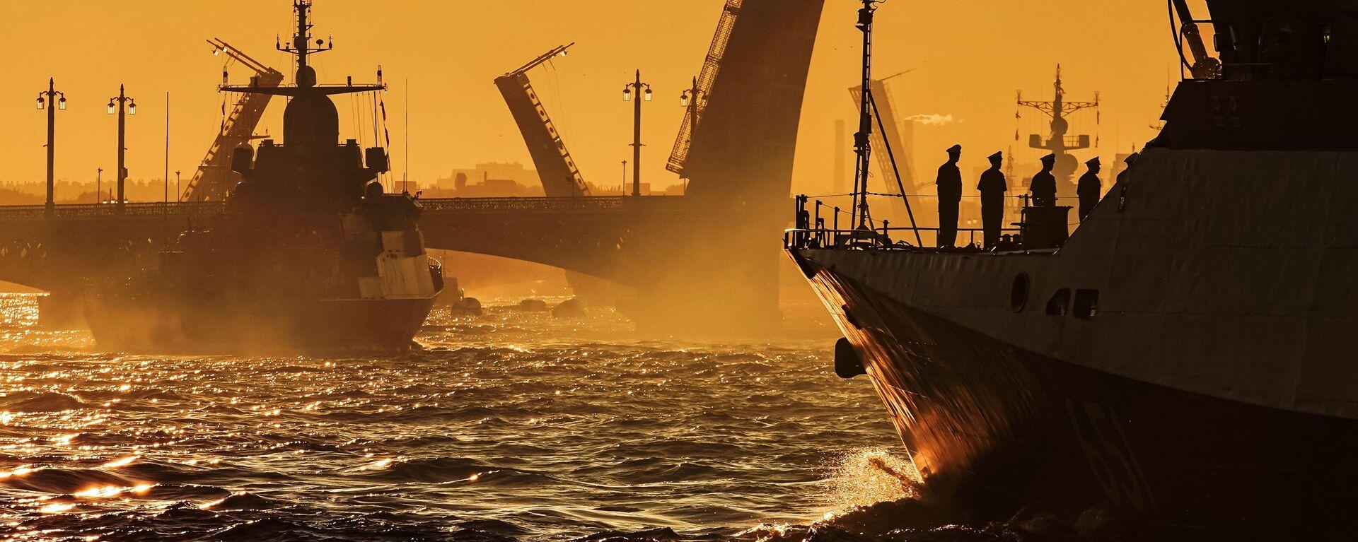 Ruské loďstvo na zkoušce přehlídky ke dni ruského námořnictva - Sputnik Česká republika, 1920, 23.11.2020