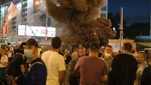 Výbych během protestů v Bělorusku - Sputnik Česká republika