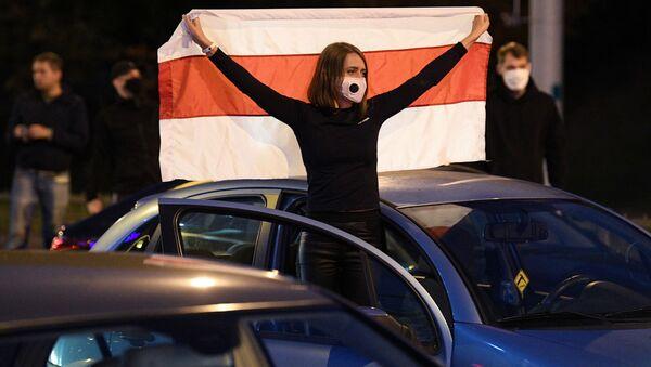 Protestní akce na jedné z ulic Minsku - Sputnik Česká republika