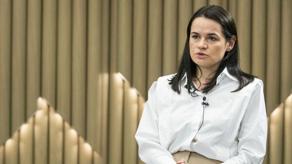 Bývalá kandidátka na úřad běloruského prezidenta Světlana Tichanovská v Litvě - Sputnik Česká republika