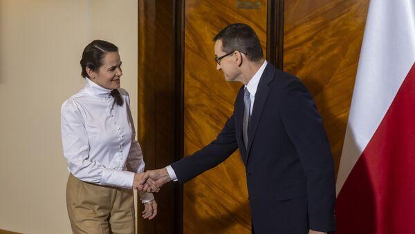 Světlana Tichanovská s polským premiérem Mateuszem Morawieckým - Sputnik Česká republika
