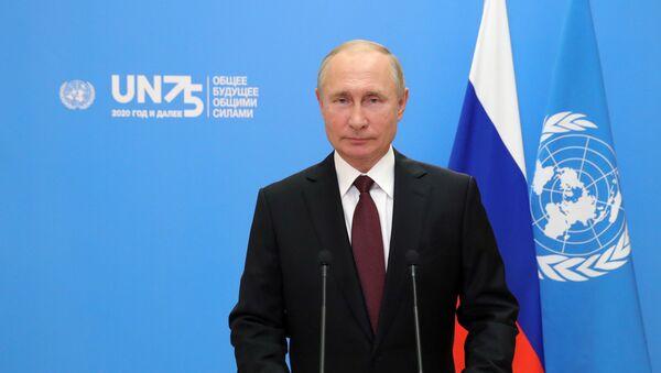 Ruský prezident Vladimir Putin během vystoupení v distanční formě na 75. zasedání Valného shromáždění OSN (22. 9. 2020) - Sputnik Česká republika