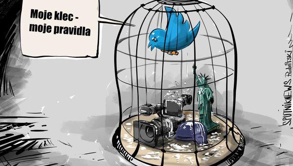 Karikatura Twitterová cenzura - Sputnik Česká republika