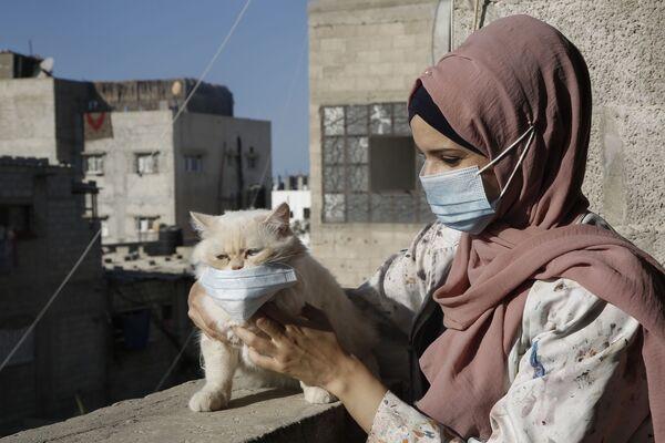 Palestinská umělkyně Khulud al-Desouki s kočkou - Sputnik Česká republika