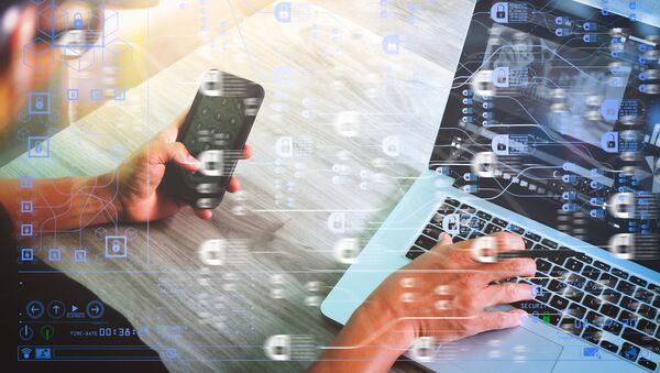 Koncept technologie blockchain s řetězovým diagramem a šifrovanými bloky - Sputnik Česká republika