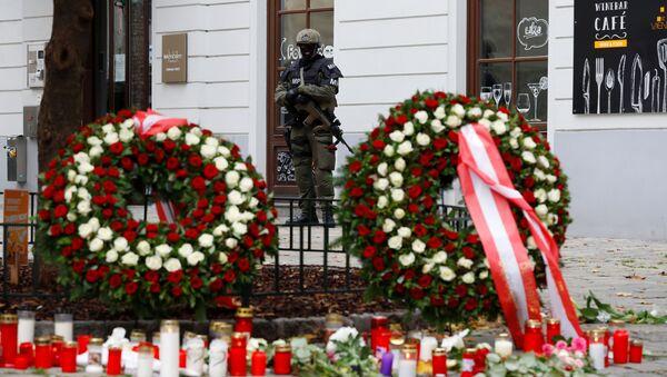 Ozbrojený policista na místě střelby, Vídeň, Rakousko - Sputnik Česká republika