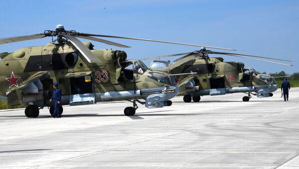 Vrtulníky Mi-24 během cvičení. Ilustrační foto - Sputnik Česká republika