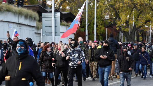 Protestní akce v Bratislavě 17. listopadu 2020 - Sputnik Česká republika