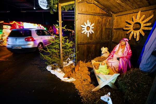 Vánoční betlém v areálu bývalé jaderné elektrárny v Kalkaru, Německo. - Sputnik Česká republika