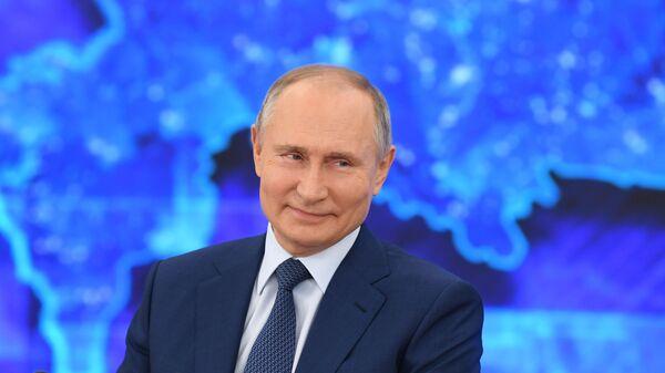 Vladimir Putin během tiskové konference 17.prosince 2020 - Sputnik Česká republika