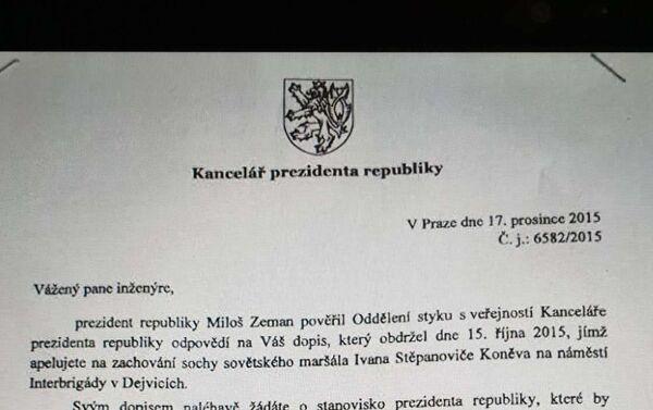 Dopis kanceláře prezidenta, že pomník Koněva je pietním místem - Sputnik Česká republika