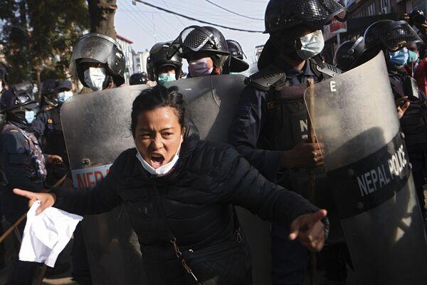 Protestující v Nepálu - Sputnik Česká republika