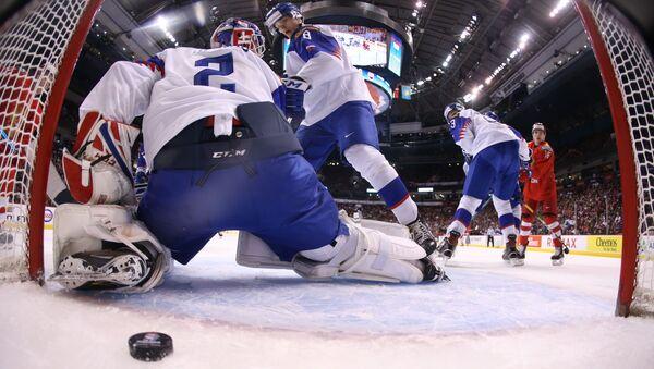 Utkání mezi Slovenskem a Ruskem na juniorském mistrovství světa 2019. Ilustrační foto - Sputnik Česká republika