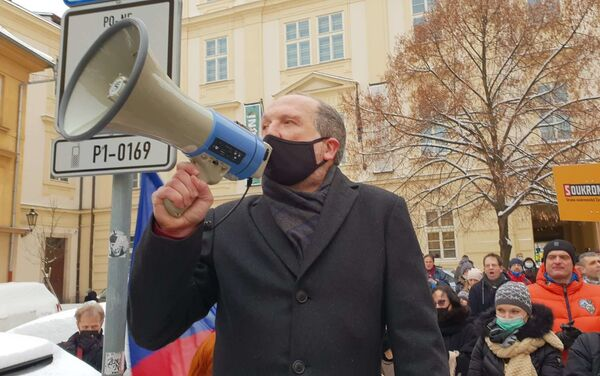 Václav Klaus mladší během protestu - Sputnik Česká republika