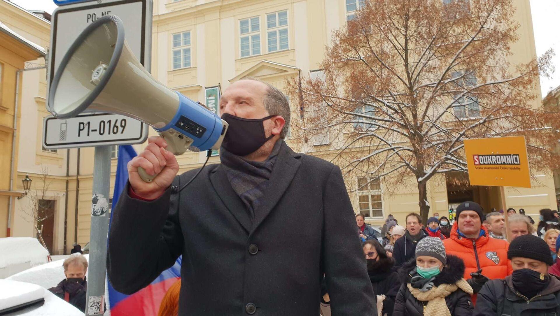 Václav Klaus mladší během protestu - Sputnik Česká republika, 1920, 21.03.2021