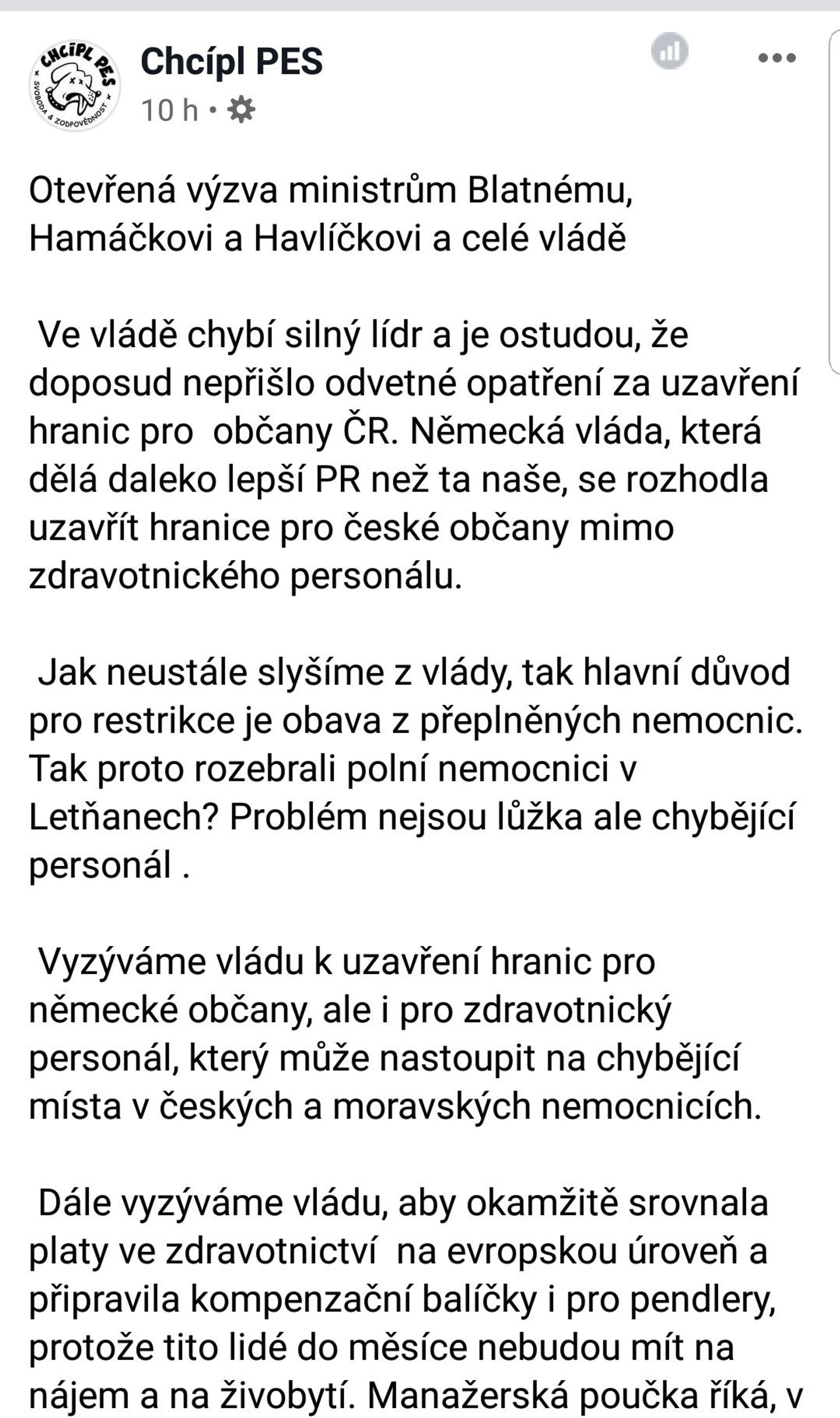 Otevřená výzva ministrům Blatnému, Hamáčkovi a Havlíčkovi a celé vládě / fragment / Facebook - Sputnik Česká republika, 1920, 20.04.2021