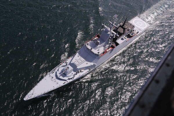 Ruská korveta Stojkij (545) během společného námořního cvičení s Íránem na severu Indického oceánu. - Sputnik Česká republika