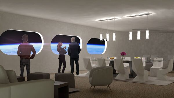 Obývací pokoj v pokoji Luxury Villa ve vesmírném hotelu Voyager Station - Sputnik Česká republika