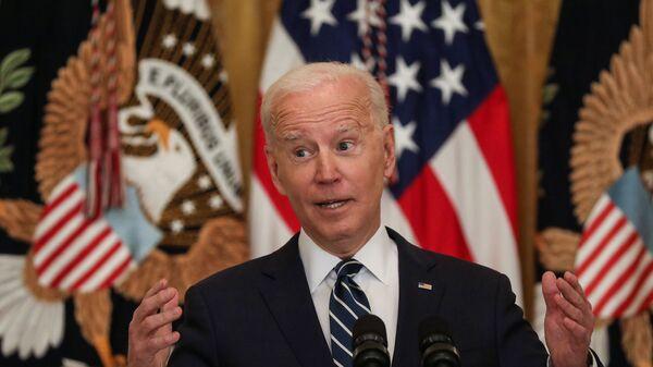 Президент США Джо Байден во время своей первой официальной пресс-конференции в качестве президента в Вашингтоне, США - Sputnik Česká republika