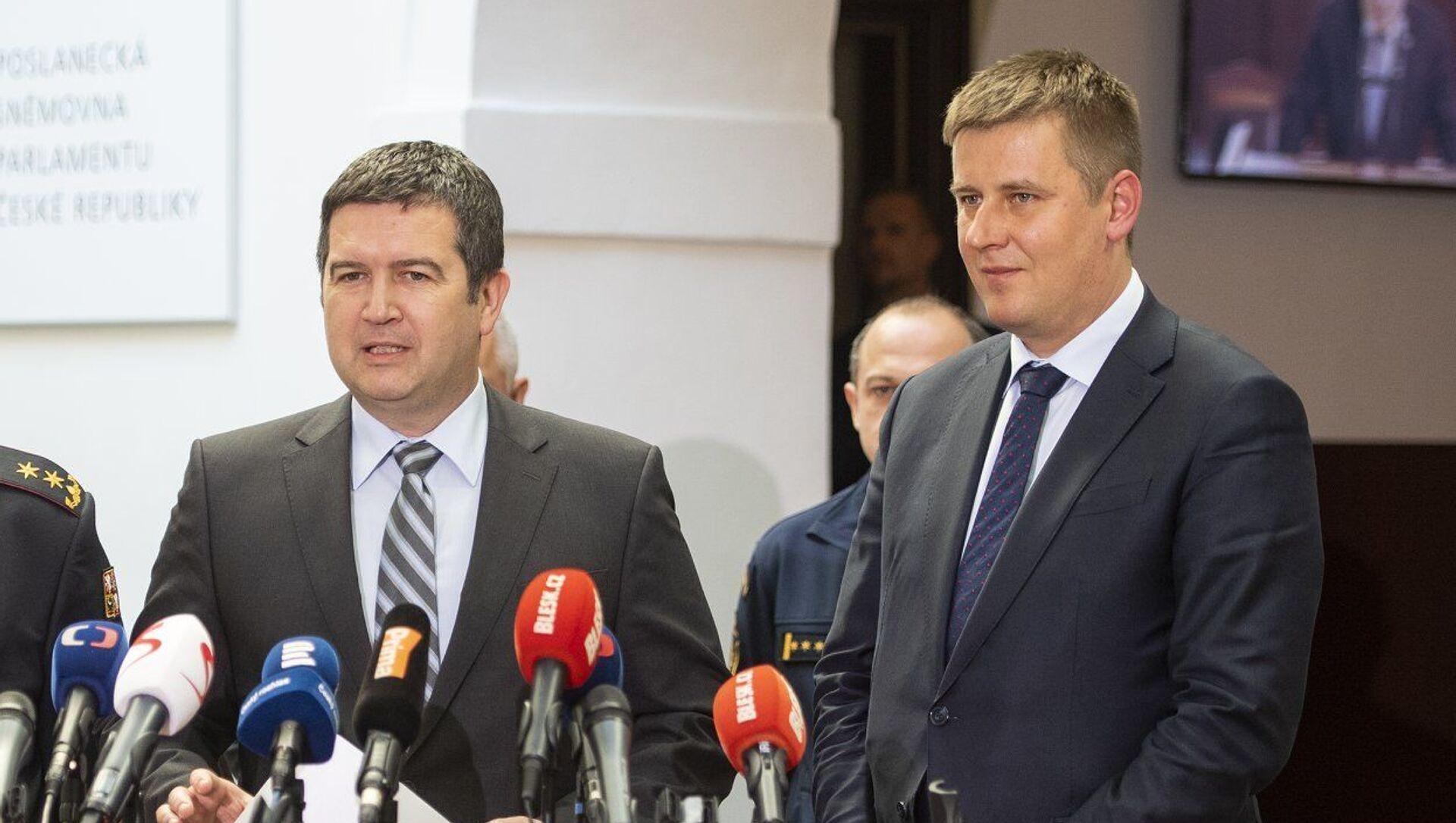 Předseda strany ČSSD a ministr vnítra jan Hamáček a ministr zahraničních věci Tomáš Petříček  - Sputnik Česká republika, 1920, 14.04.2021