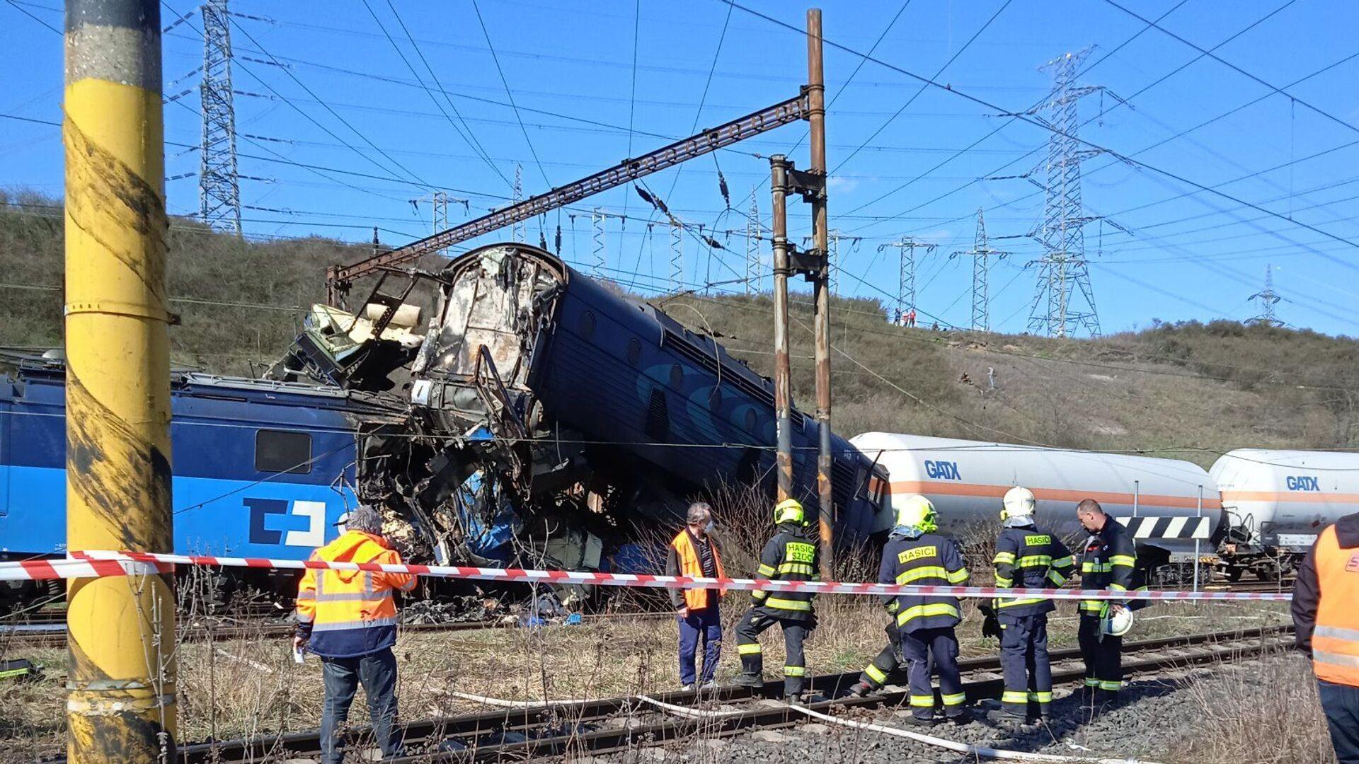 Srážka dvou nákladních vlaků u obce Světec, okres Teplice. - Sputnik Česká republika, 1920, 04.04.2021