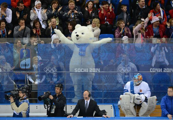 Fanoušci během skupinové fáze hokejového zápasu mezi národními týmy USA a Finska na Zimních olympijských hrách v Soči, v Rusku. - Sputnik Česká republika