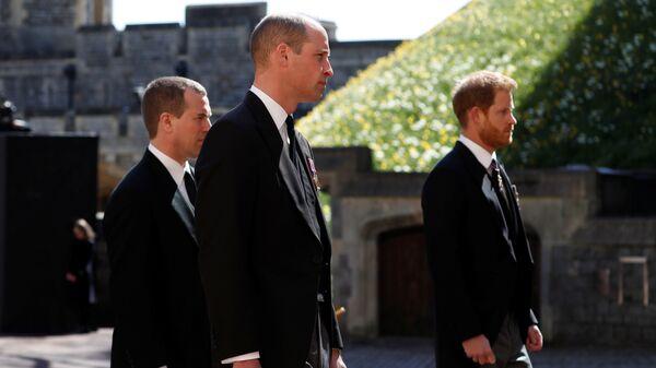 William a Harry na pohřbu prince Philipa - Sputnik Česká republika