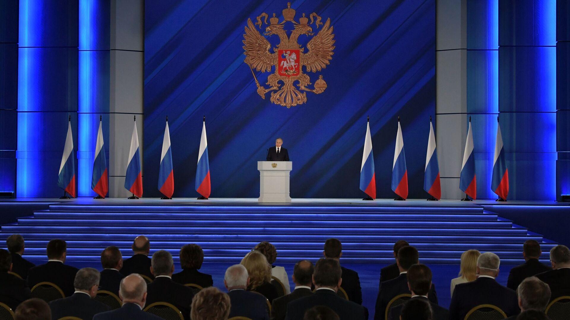Ruský prezident Vladimir Putin vystoupil s poselstvím Federálnímu shromáždění - Sputnik Česká republika, 1920, 21.04.2021