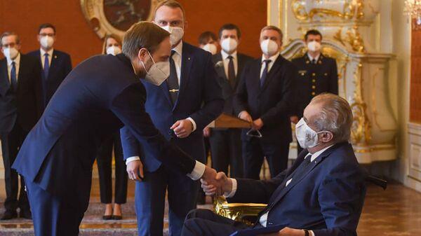 Prezident Miloš Zeman a nový český ministr zahraničí Jakub Kulhanek - Sputnik Česká republika