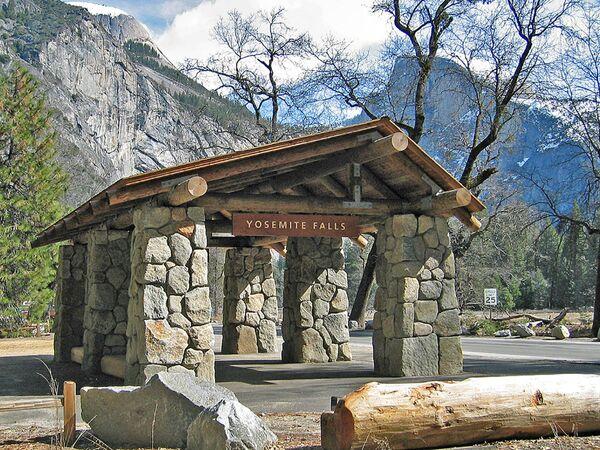 Autobusová zastávka v Yosemitském národním parku v USA. - Sputnik Česká republika