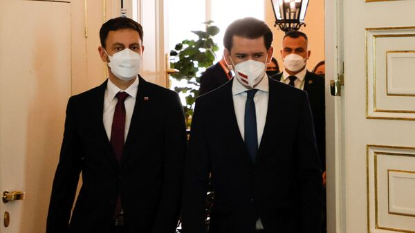 Канцлер Австрии Себастьян Курц и премьер-министр Словакии Эдуард Хегер на встрече в Вене - Sputnik Česká republika