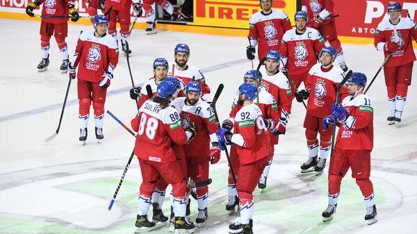 Игроки сборной Чехии радуются победе в матче группового этапа чемпионата мира по хоккею 2021 между сборными командами Чехии и Белоруссии - Sputnik Česká republika