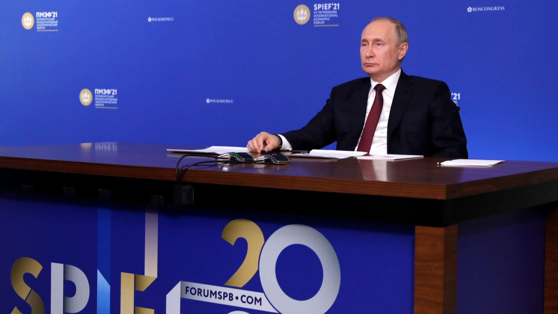Ruský prezident Vladimir Putin na Petrohradském mezinárodním ekonomickém fóru 2021 - Sputnik Česká republika, 1920, 12.06.2021