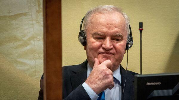 Бывший командующий армией боснийских сербов Ратко Младич в зале суда в Гааге - Sputnik Česká republika