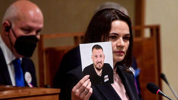 Лидер белорусской оппозиции Светлана Тихановская во время выступления в Сенате в Праге - Sputnik Česká republika