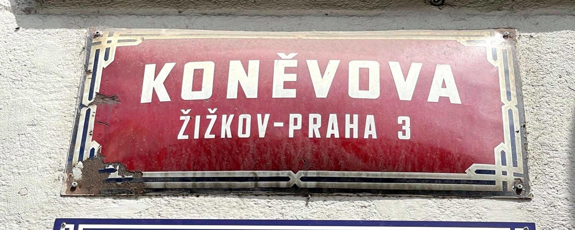 Tabulka v ulici Koněvova - Sputnik Česká republika, 1920, 22.06.2021