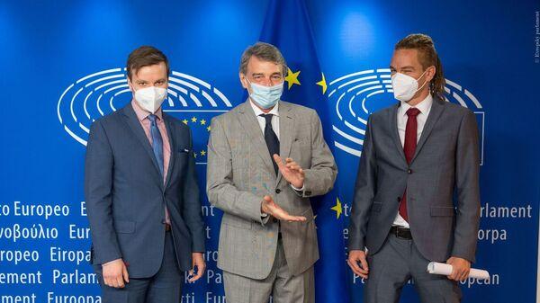 Лидер Чешской пиратской партии во время встречи с президентом Европейского парламента  - Sputnik Česká republika