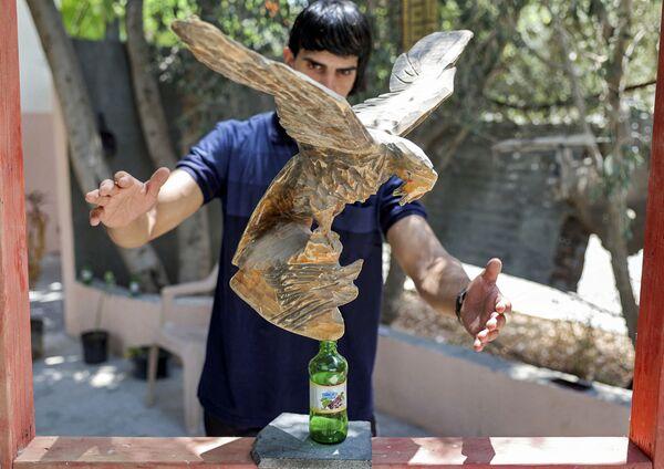 Tady zase máme sochu dravce na skleněné láhvi.  - Sputnik Česká republika