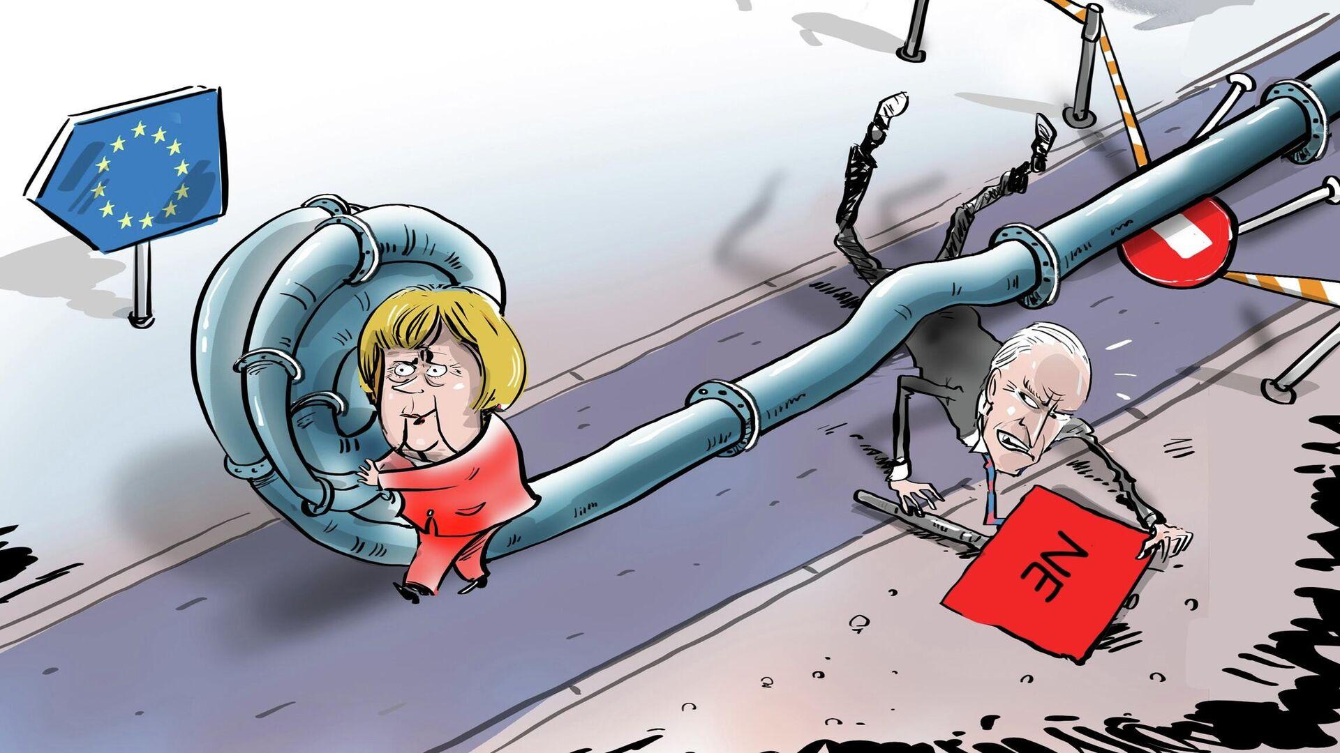 Merkelová ponížila Bidena svým rozhodnutím o plynovodu Nord Stream 2 - Sputnik Česká republika, 1920, 13.07.2021