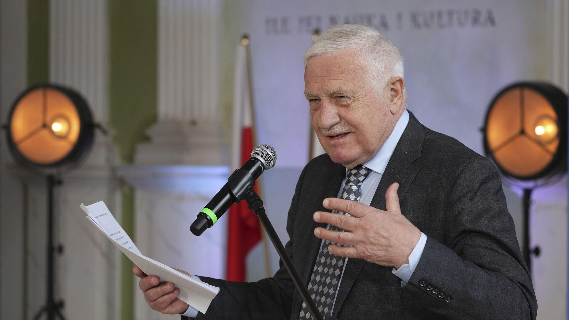 Bývalý český prezident Václav Klaus vystupuje na konferenci ve Varšavě - Sputnik Česká republika, 1920, 26.09.2021