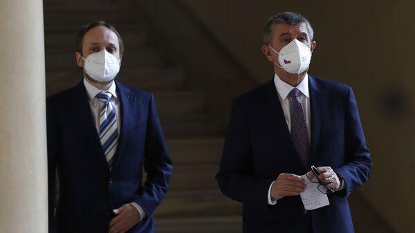 Министра иностранных дел Чехии Якуб Кулганек и премьер-министр Чехии Андрей Бабиш перед пресс-конференцией в  - Sputnik Česká republika