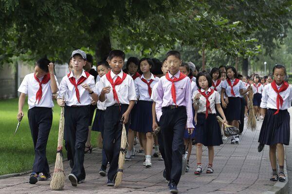 Школьники несут веники в Пхеньяне, Северная Корея - Sputnik Česká republika