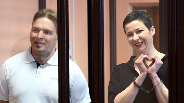 Мария Колесникова и Максим Знак во время вынесения приговора в Минском областном суде - Sputnik Česká republika