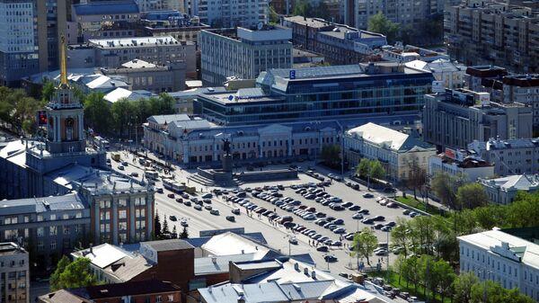 Вид на центральную площадь 1905-го года со смотровой площадки небоскреба Высоцкий в Екатеринбурге - Sputnik Česká republika