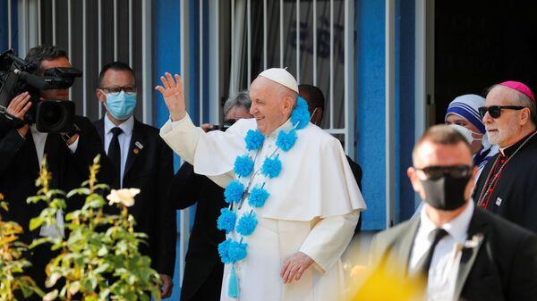 Папа Франциск во время посещения Вифлеемского центра в Братиславе, Словакия - Sputnik Česká republika