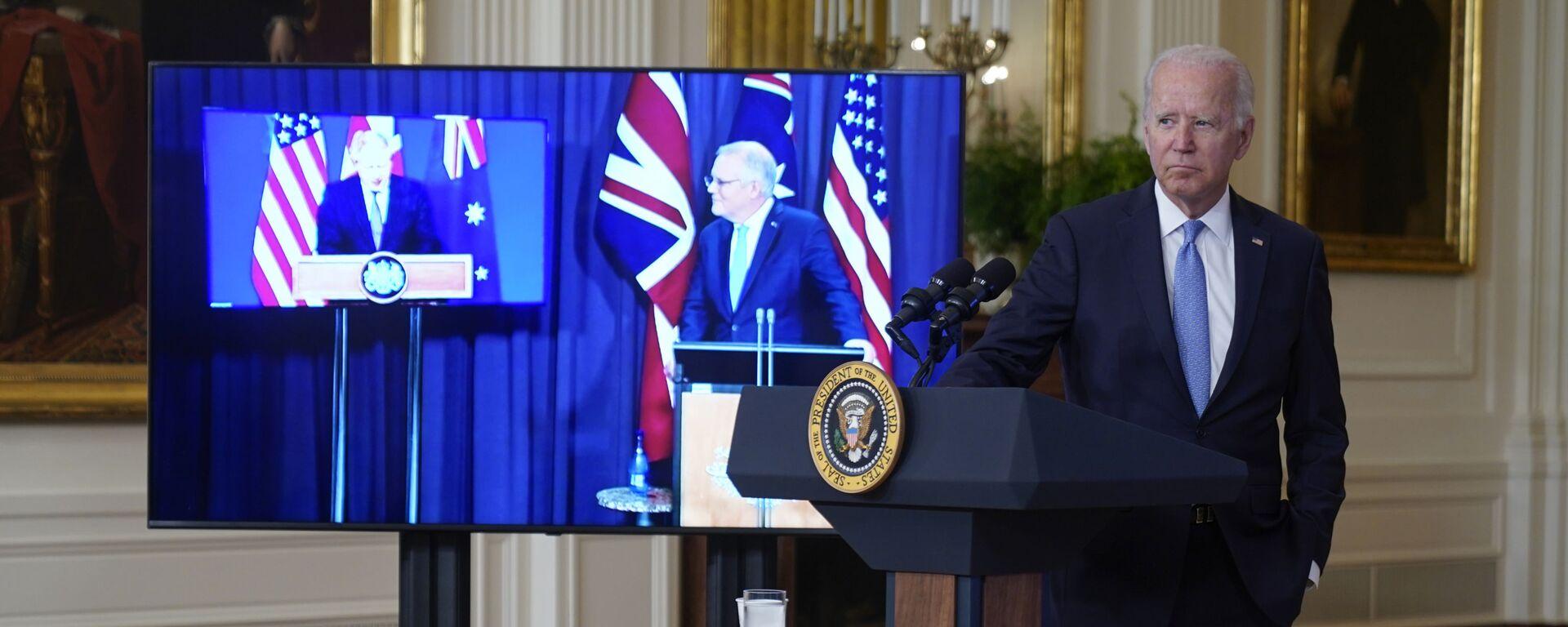 Americký prezident Joe Biden, britský premiér Boris Johnson a australský premiér Scott Morrison oznámili vytvoření nového partnerství AUKUS  - Sputnik Česká republika, 1920, 19.09.2021