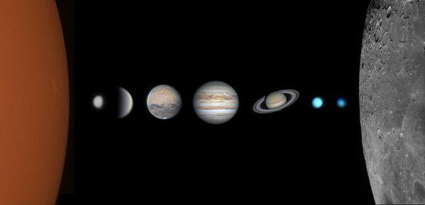 Fotografie Family Photo of the Solar System 15letého  čínského fotografa Zhipu Wang. Vítěz v kategorii Young Competition soutěže Royal Observatory's Astronomy Photographer of the Year 13 - Sputnik Česká republika